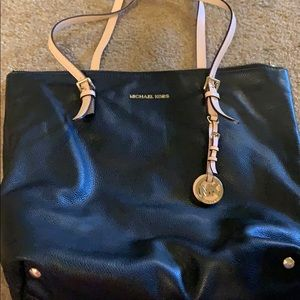 Michael Kors tote purse (black with tan straps)